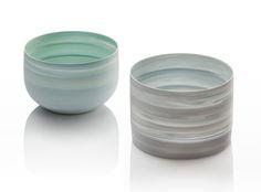 "Inhwa Lee ""Shadowed Color - Bowl & Cylinder"" Porcelain, Pigment, Marbling, Wheel throwing, 1280℃ Oxidation Firing, Polishing"