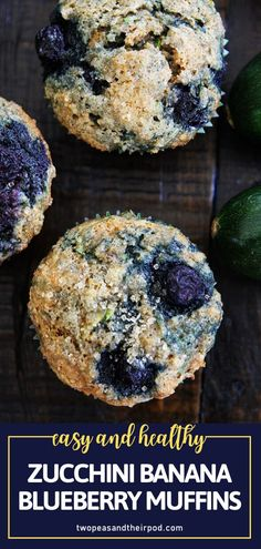 This easy recipe will be your new favorite way to get your fruits and veggies! Everyone will love these whole wheat Zucchini Banana Blueberry Muffins. Packed with delicious and healthy goodness, these muffins would make a great back to school breakfast, lunch, or snack!