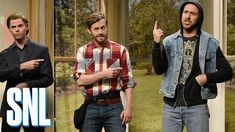 Brothers Pete (Mikey Day), Zeke (Alex Moffat) and Tristan (Ryan Gosling) love renovating houses and refusing to face their demons. Alex Moffat, Parody Videos, Funny Videos, Snl Saturday Night Live, Flip Or Flop, Feel Good Videos, Political Satire, Stand Up Comedy