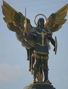 Archangel Michael statue Kiev, Ukraine, where he is the patron saint Angels Among Us, Angels And Demons, St. Michael, Saint Michael, Michael Angel, Statue Ange, Angel Warrior, I Believe In Angels, Ange Demon