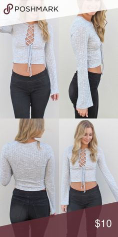 ON SALE - Gray Crop Top Model is wearing a small, true to size. Crop lace up long sleeve bell sleeves. For more new styles visit graceandedge.com and use code POSH50 for half off first order! Grace & Edge Boutique Tops Crop Tops