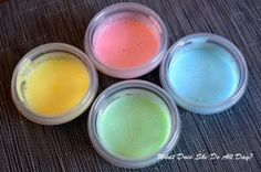 Homemade bath tub paint-  1 cup baby bubble bath or body wash – as long as it is clear/white 4 tbsp cornstarch a few drops of food coloring small containers with lids  Combine the body wash and cornstarch.  Divide into 4 separate containers. Add one food coloring to each container until you reach your desired color.  Paint!!!  When you're done, snap the lids on and save the leftovers for next time!