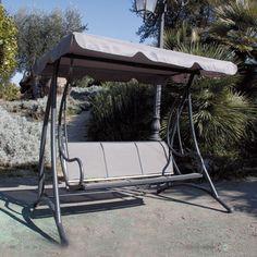 dondolo 3 posti in ferro con schienale reclinabile arredo giardino