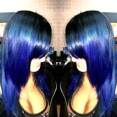 Hair by owner April Marie at SalonBlu @ Bella Luca #BlueOmbre 440-449-4848
