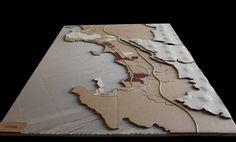 modellino in cartone scala 1:25000 formato A0 dell'area che va da Augusta a Siracusa