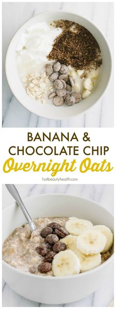 Wake up and enjoy this healthy Banana & Chocolate Chip overnight oats recipe you made the night before! Also made with chia seeds, flax seeds, greek yogurt, and vanilla almond milk for a healthy breakfast. Can eat in a jar for on-the-go or in a bowl at home!