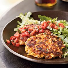 Crisp on the outside and creamy on the inside, these salsa-topped, red-lentil rice cakes make a lovely vegetarian entrée.View Recipe: Red Lentil-Rice Cakes with Simple Tomato Salsa Heart Healthy Vegetarian Recipes, Vegetarian Entrees, Veggie Recipes, Cooking Recipes, Vegetarian Dish, Lentil Recipes, Cheese Recipes, Easy Recipes, Veggie Meals