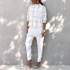 Today: All white and drop earrings. #sportsgirl knit and earrings, #camillaandmarc pants and #givenchy pumps. #momentsofspur photographed by @julia_leeson