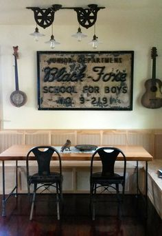 Allison & Tom's Unusual, Vintage & Salvaged Home — House Call (Apartment Therapy Main) Dining Room Inspiration, Design Inspiration, Masculine Room, Built In Bench, Decoration, Industrial Style, Interior Design, Apartment Therapy, Furniture