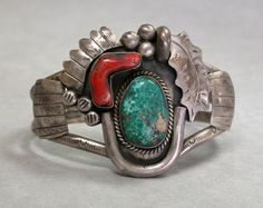 Carico Lake Spiderweb Turquoise & Red Coral Navajo Sterling Bracelet