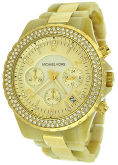 Michael Kors Women's MK5417 Madison Chronograph Horn and Gold Watch : Disclosure: Affiliate link  $215.00