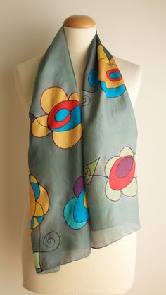 "Hand Painted Silk Scarf.Silk Scarf.Hand Painted Silk Shawl.Wedding Gift.Silk Art.Flowers scarf.55""x18"" Ooak by gilbea on Etsy"