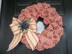New 18 Brick Red Chevron Burlap Wreath/webbing bow by cindidavis1, $32.00