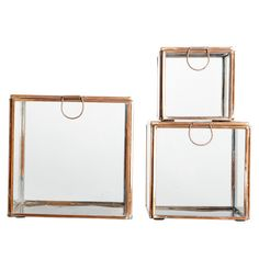 Set of 3 Glass Storage Boxes in Copper from Ruby Roost