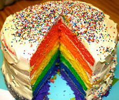 Rainbow Cake (This uses a box cake mix. I would use my homemade vanilla cake and icing recipes. Deb)