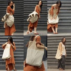 Unique design, made in a short series (only 5 units), cotton - linen multi-purpose large shoulder bag. It's unusual bag - on the one hand you can wear it as a shoulder bag, on the other hand - like...