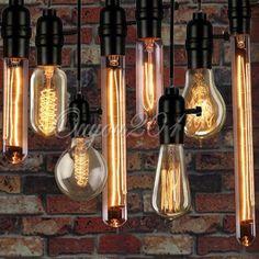 40W Edison Pendant Vintage Antique E27 Filament Lamp Bulb Cafe Hanging Droplight