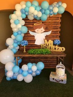Boy Baptism Centerpieces, Baptism Party Decorations, Communion Decorations, Balloon Decorations, Shower Centerpieces, Baby Boy Baptism, Baby Boy Shower, Baby Showers, Foto Baby