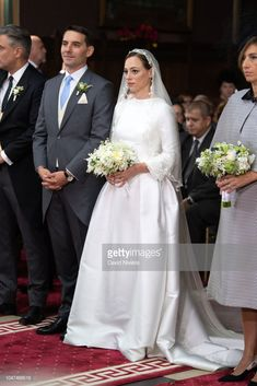Prince Nicholas of Romania and Princess Alina of Romania attend the religious ceremony of their wedding at Sfantul IIie church celebrated by his Eminence Calinic, Archbishop of Arges Royal Wedding Gowns, Royal Weddings, Wedding Dresses, Romanian Royal Family, Religious Ceremony, Here Comes The Bride, Plus Size Fashion, Royalty, Bridesmaid Dresses
