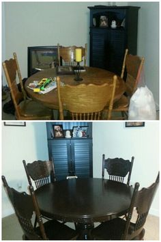 Honey oak round pedestal kitchen table refinished with General Finishes Java Gel stain. Before and After! And yes, I used the sock method