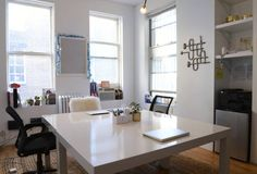 Double desk - good idea for a craft table, too.  The Man Repeller Office Makeover - Leandra Medine Office - ELLE DECOR