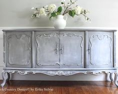 This SOLD! - Rare Ornate Vintage Hand Painted Louis XV Style French Provincial French Country Design Buffet - Distressed Gustavian Swedish Gray is just one of the custom, handmade pieces you'll find in our buffets & china cabinets shops. Decor, Furniture Makeover, Painted Furniture, French Country Design, Furniture, Vintage House, Selling Furniture, Vintage Furniture, Beautiful Furniture