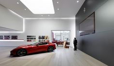 Former foundry as a car workshop, laboratory and museum. Car Workshop, Retail Design, Ferrari, Engineering, Industrial, Museum, Italy, Garage, Italia