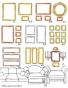 Great site for explanation of pictures over a sofa. Start photo grouping ONLY 8-9 inches above sofa.