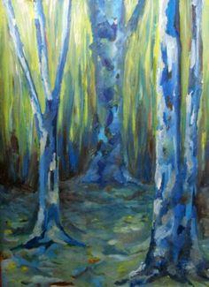 Bosque azul* óleo sobre papel