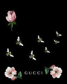 Gucci, picture, painting, art, bee, flowers, rose, pink
