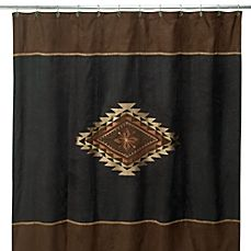 image of Avanti Mojave 72-Inch x 72-Inch Fabric Shower Curtain in Black/Brown