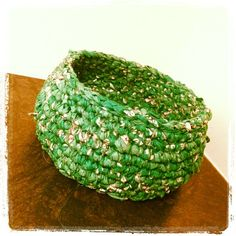 Small crochet basket made of a vintage silk saree. SOLD