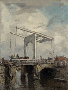 Jacob Maris - A Drawbridge in a Dutch Town [c.1875[ he town has not been identified but it is not necessarily meant to be a particular place, as Maris did not greatly value topographical accuracy. The lines of the bridge appear to have been painted wet in wet without underdrawing, although it is probable the artist used some straight object to create them. There is a watercolour version of the same view, dated 1875, in Amsterdam (Rijksmuseum).