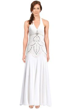 1920s style wedding dress - Sue Wong Halter Neck Beaded Gown in White $561.00 AT vintagedancer.com