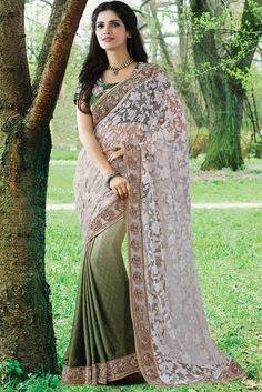 Decorous Olive Green and Off White Saree