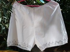 Victorian Lacy Panties 1900's French White Slouchy Shorts  Lingerie Handmade Lace Trim Cotton Medium / Large  #sophieladydeparis by SophieLadyDeParis on Etsy
