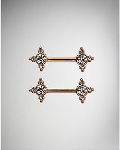 Cz Barbell Nipple Rings- 14 Gauge - Spencer's