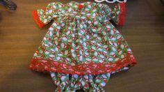 "Green/ Snowman Print Christmas Dress/bloomers, fits 15"" My Friend Dolls #KindredHeartsDesigns"