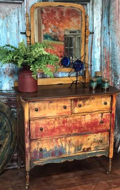 Off The Beaten Path is part of painting Furniture Bohemian - This old gal brings flair to any room Not your tech look But for those of us that beat to a different drum and live of the beated path Its the perfect fit Funky Painted Furniture, Distressed Furniture, Refurbished Furniture, Paint Furniture, Upcycled Furniture, Shabby Chic Furniture, Rustic Furniture, Furniture Makeover, Vintage Furniture