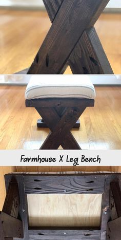 Easy and inexpensive way to add gorgeous farmhouse seating to your home! This Farmhouse X Leg bench would be a great addition to any room! Diy Wood Bench, X Bench, Java Gel Stains, Using Chalk Paint, Old Desks, Wood Glue, Woodworking Projects, I Am Awesome, Farmhouse