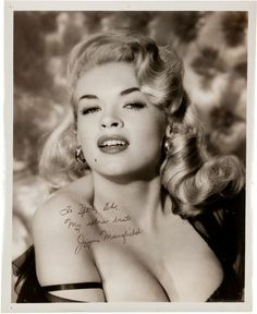 Movie/TV Memorabilia:Autographs and Signed Items, A Jayne Mansfield Signed Black and White Photograph, Circa... Image #1