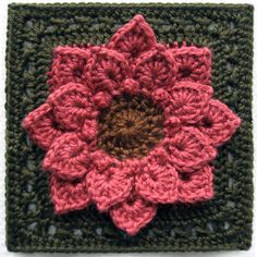 [Free Pattern] Absolutely Gorgeous Dahlia Flower Afghan Block Using The Crocodile Stitch
