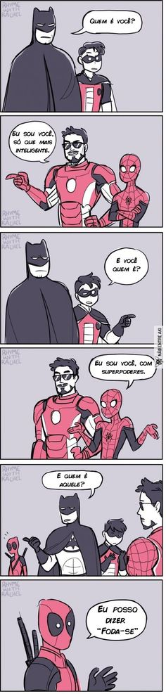 Batman, Iron Man and Deadpool – – PinPictures.Club Batman, Iron Man and Deadpool – Batman, Iron Man and Deadpool – Marvel Vs, Marvel Jokes, Funny Marvel Memes, Avengers Memes, Marvel Dc Comics, Funny Comics, Robin Comics, Marvel Cartoons, Funny Cartoons