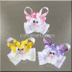 Pink Bunny Hair Bow Easter Hair Bow Bunny Hair Clip by GirlyKurlz, $7.50