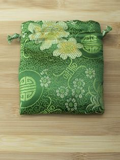 Premium Mala Bag - Olive Green Symbols and Flowers Brocade