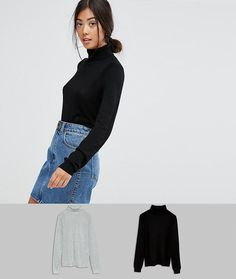 Get this Asos Petite s turtleneck now! Click for more details. Worldwide  shipping. ASOS PETITE Jumper With Roll Neck And Rib Detail 2 Pack - Multi   Petite ... 4cc1bfd31400