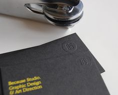 """""""The BS identity is intended to be as simple as possible, set in yellow and black with one typeface used throughout it is applied across all the studio output. Stationery is printed onto Fenner Colorset Solar and foiled business cards onto Colorplan, with a handheld interchangeable embosser to apply the BS marque."""""""