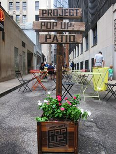 Pittsburgh Project Pop-up Patio  From Outdoor Living Blog Outdoorlicious.livedan330.com  wesa.fm-Create a pop-up park or pop-up patio in just about any well located (and clean) alley! popuprepublic.com