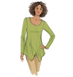 New tunic sewing pattern from Butterick features interesting seaming details. Perfect for lightweight knits. B6287, Misses' Tunic