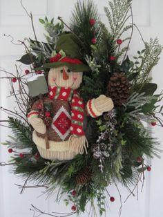 SNOWMAN SHOVEL- Winter Christmas Evergreen Grapevine Door Wreath Arrangement Snowman Decorations, Snowman Crafts, Christmas Decorations, Holiday Decor, Christmas Door, Primitive Christmas, Winter Christmas, Bazaar Ideas, Holiday Wreaths